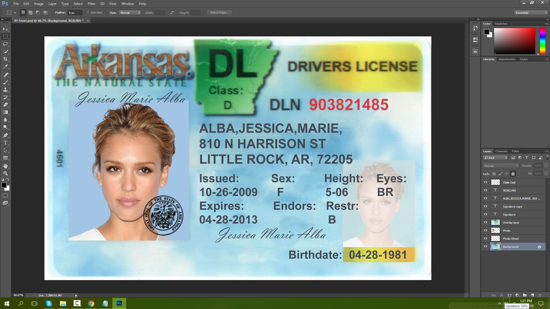 Arkansas Driving Licence PSD Template