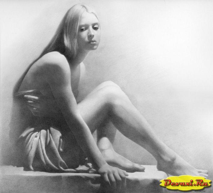 рисунки карандашом голых девушек