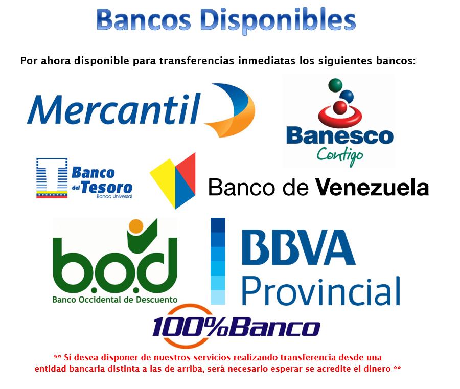Bancos Disponibles Recarga Saldo INVAL23