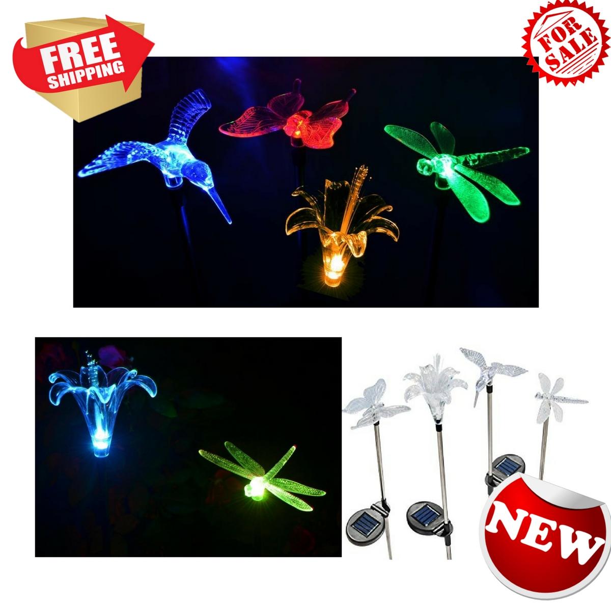 Solar Stake Flower Hummingbird Butterfly Dragonfly Garden Lights Four  Pieces Set