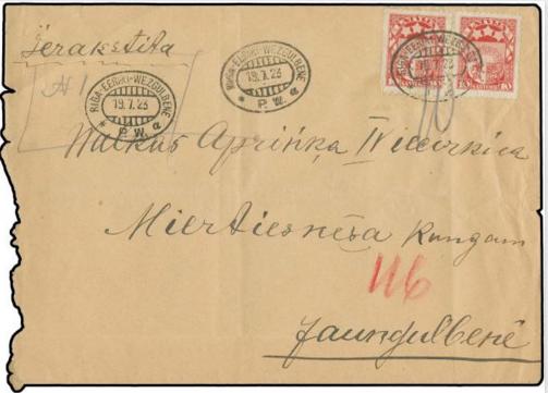 Aploksne ar Rīgas-Vecgulbenes pasta vagona zīmogiem. Pārdota izsolē par 100 €.