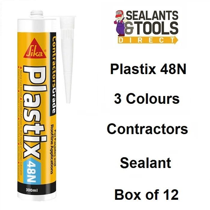 Sika Plastix 48N Neutral Silicone Sealant 3 Colours Box of 12