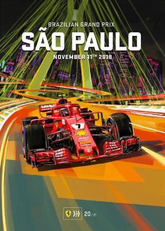 BRAZIL 2018 FERRARI F1 GRAND PRIX RACE POSTER