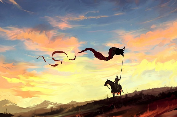 knight dragon horse banner spear sky clouds countryside natu