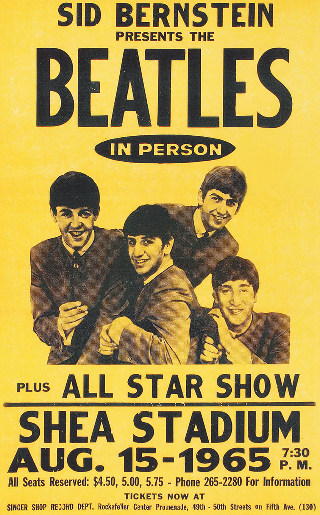 THE BEATLES (SHEA) Concert Poster - Giclee Full Colour Reproduction ...