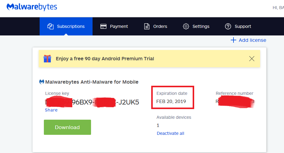 Malwarebytes Anti-Malware for Mobile (3 months) - Giveaways