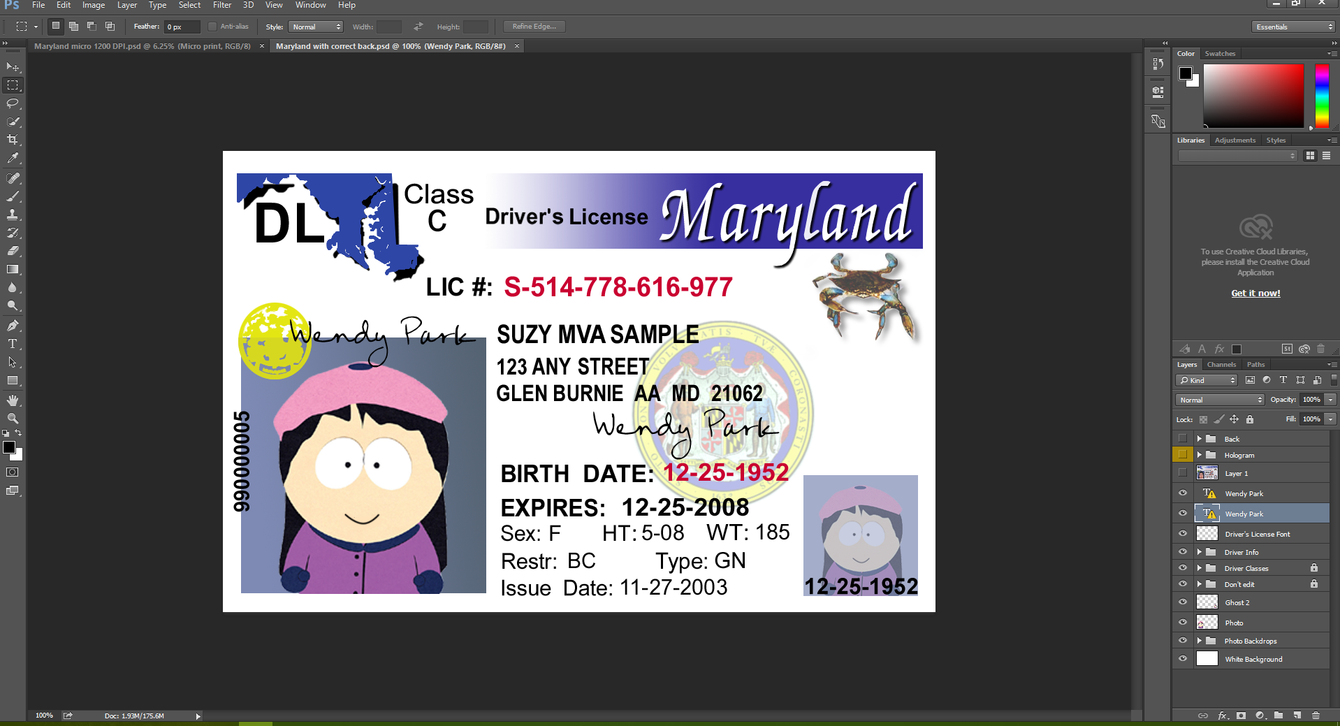 Maryland driving licence psd template