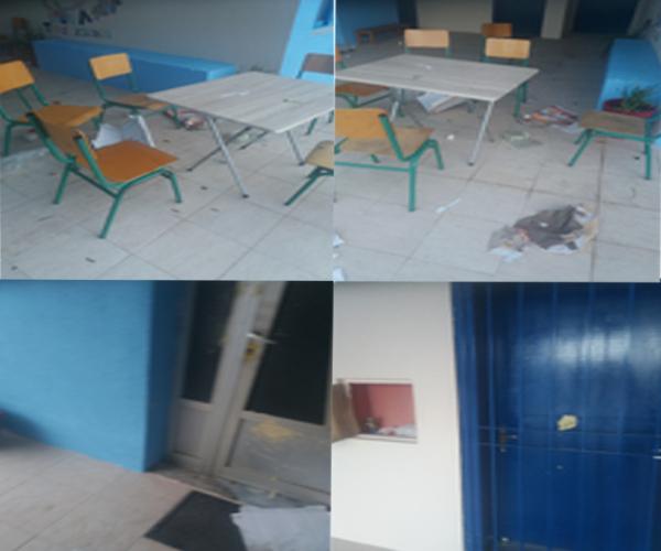 Θλιβερές εικόνες από ζημιές που έγιναν στο Δημοτικό Σχολείο Ψίνθου