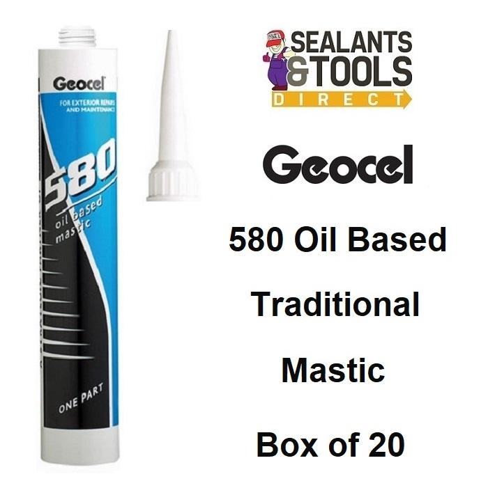 Geocel 580 Traditional Oil Based Mastic White Grey Black Brown Box 20