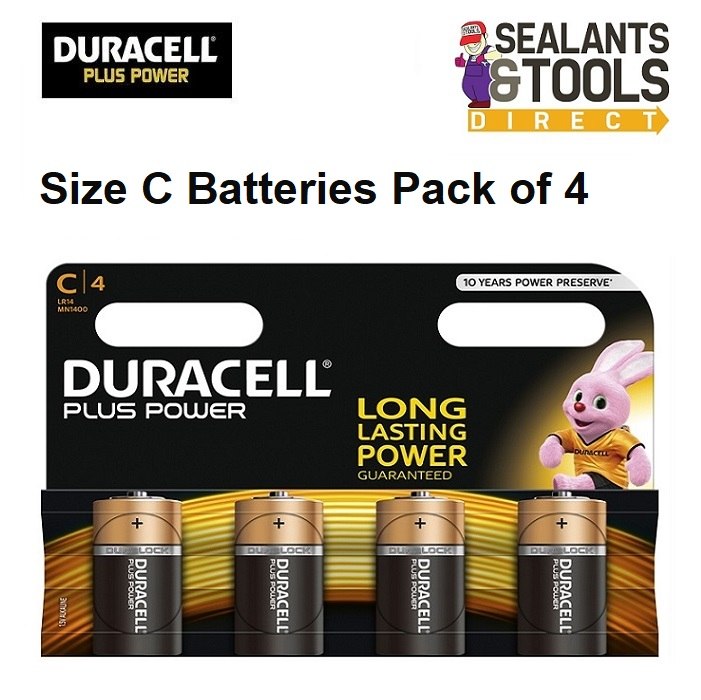 DURACELL Plus Power Size C Battery Pack of 4 DURCK4P