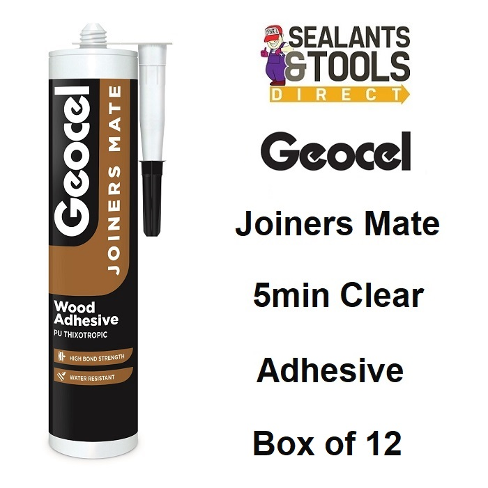 Geocel Joiners Mate 5 min Clear PU Wood Adhesive 310ml x 12