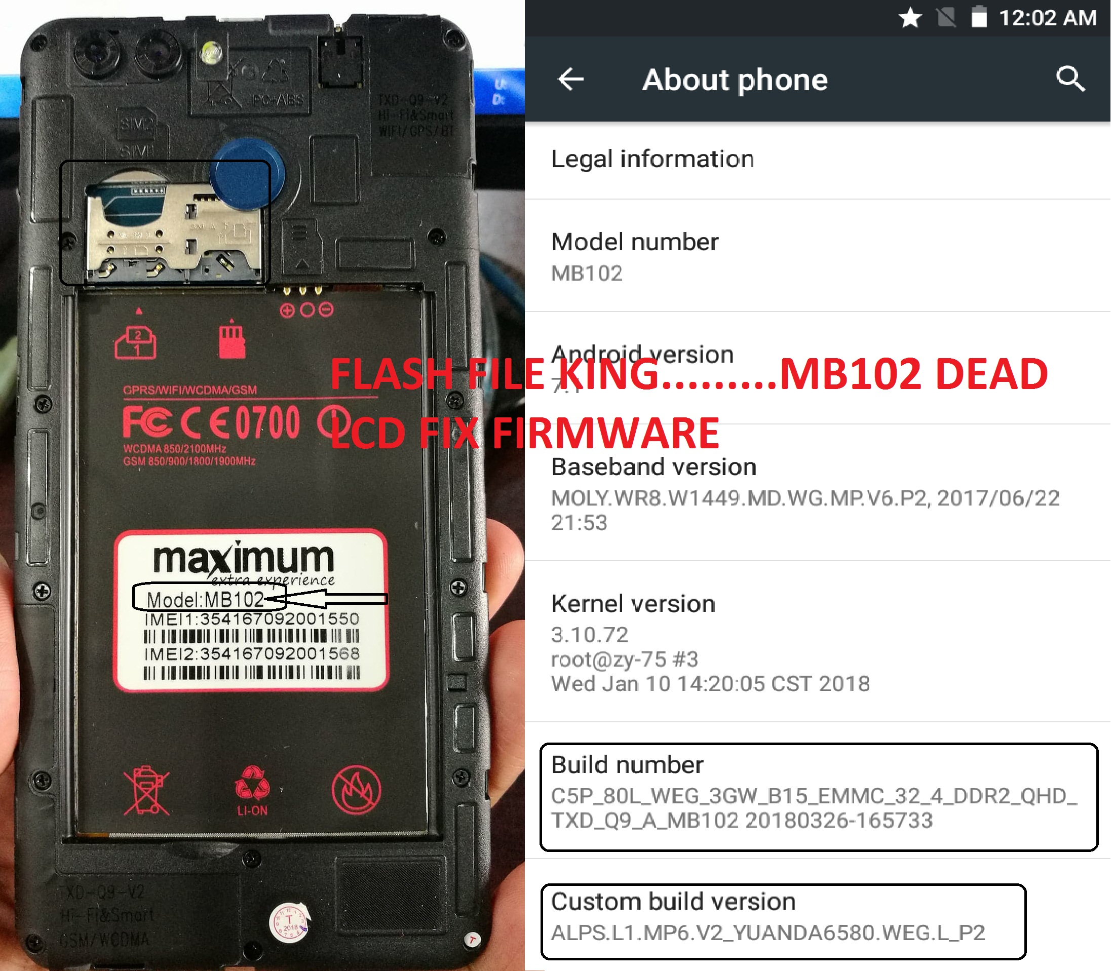 Maximum MB102 Flash File MT6580 7 1 Firmware - FLASH FILE