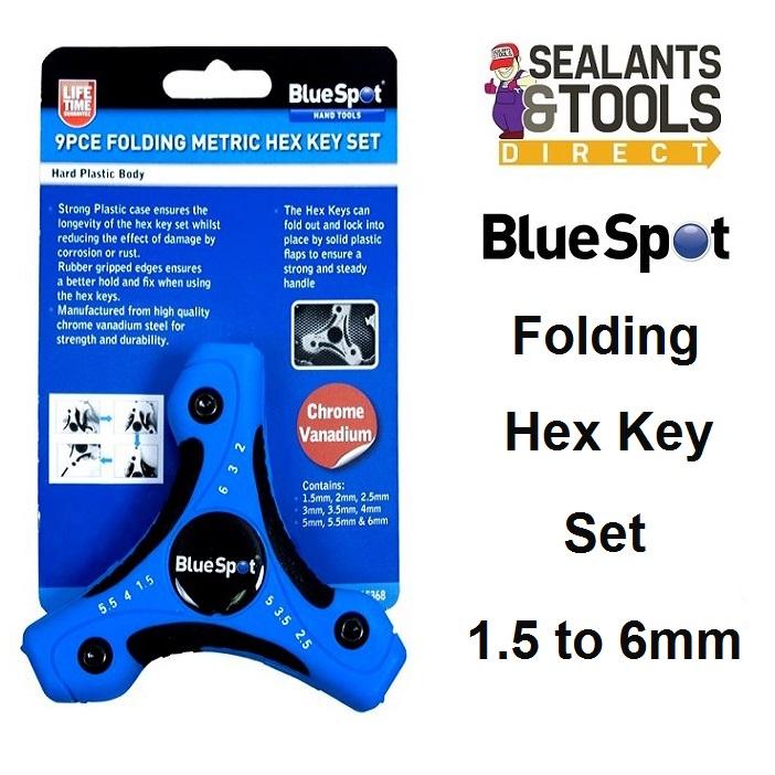 Blue Spot 15368 Folding Metric Hex Allen Key Set