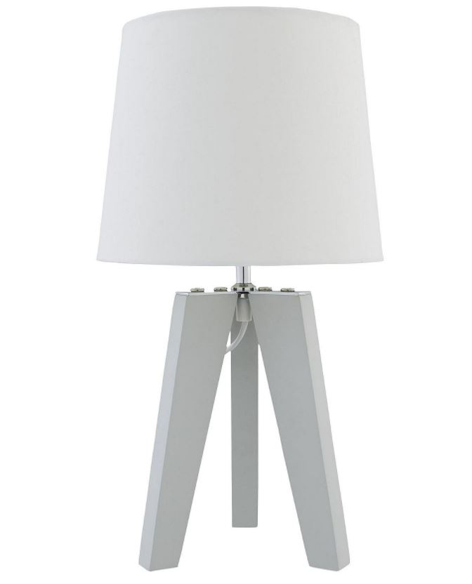 Wooden tripod table lamp grey white modern lounge bedroom bedside standing 40cm tall this wooden tripod table lamp will fit in perfectly with the decor of your home the lamp rests on a grey wooden tripod base and is aloadofball Gallery