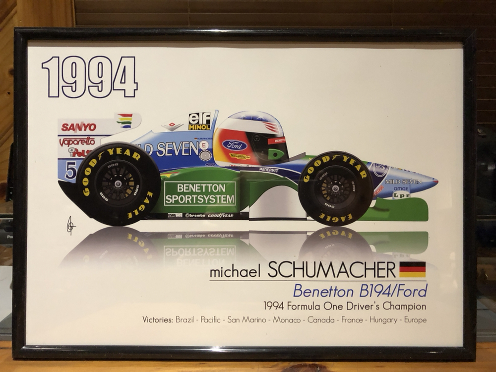 1994 michael schumacher f1 race poster dvd benetton b194 ford