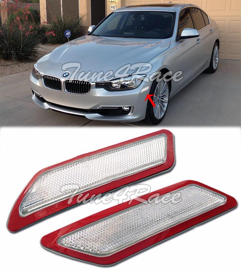 For 13-15 F30 F31 3-Series SMOKE Bumper Reflector Side Marker Lights Lamp