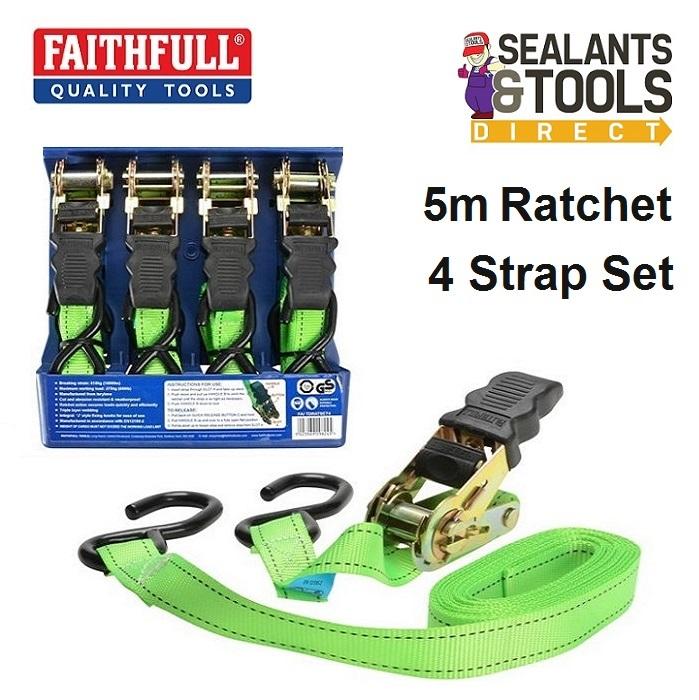 Faithfull XMS18TIE4 5 Meter Ratchet Strap Set FAITDRATSET4