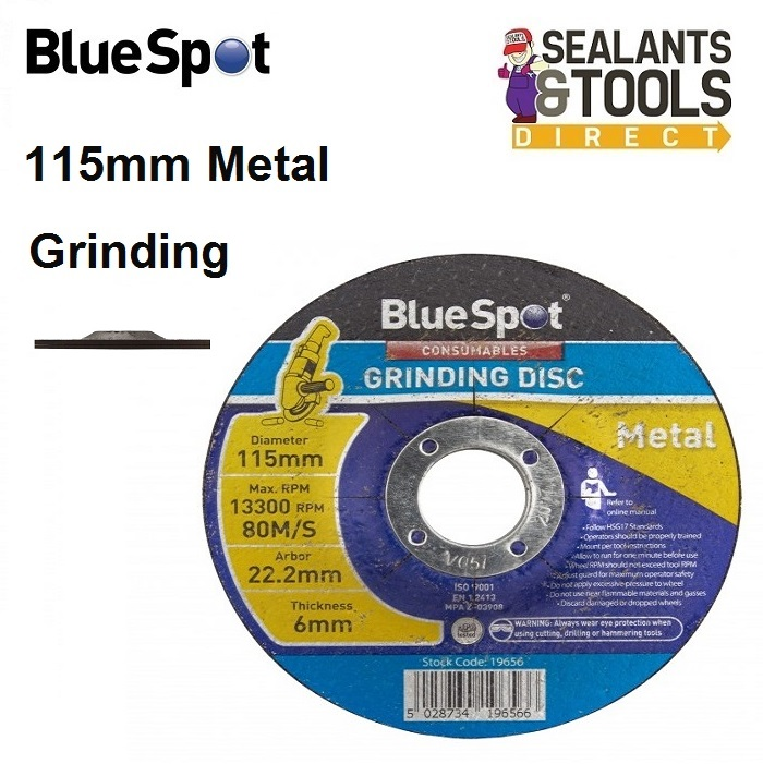 Blue Spot Tools Metal Grinding Disc 115mm 19656 4 1/2 inch