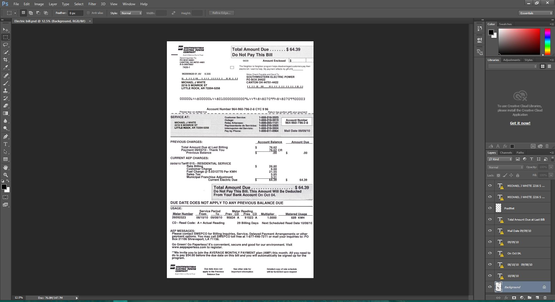 SouthWestern Electric Bill psd template