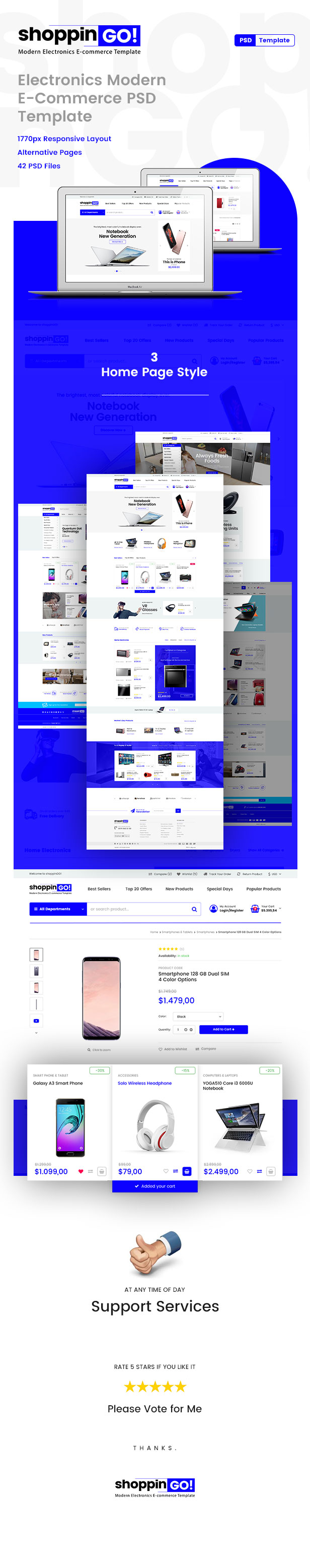 shoppinGO! - Electronics Modern E-Commerce PSD Template