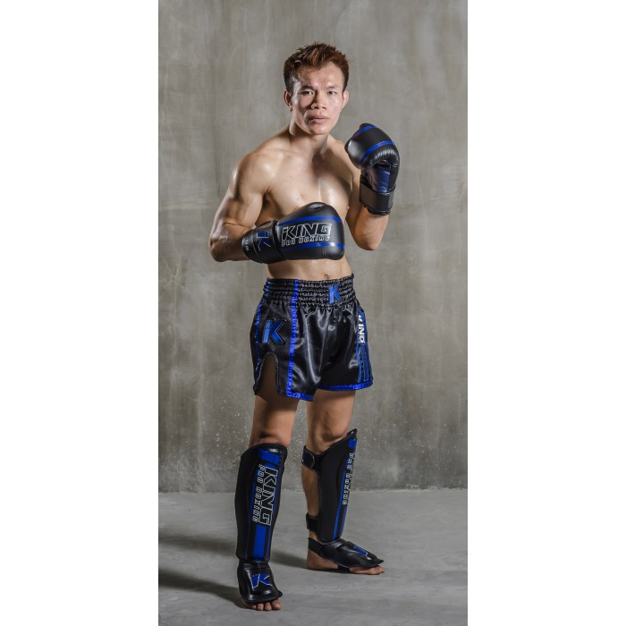 Боксерские перчатки KING traditional boxing gloves ELITE black/blue  ( Таиланд )