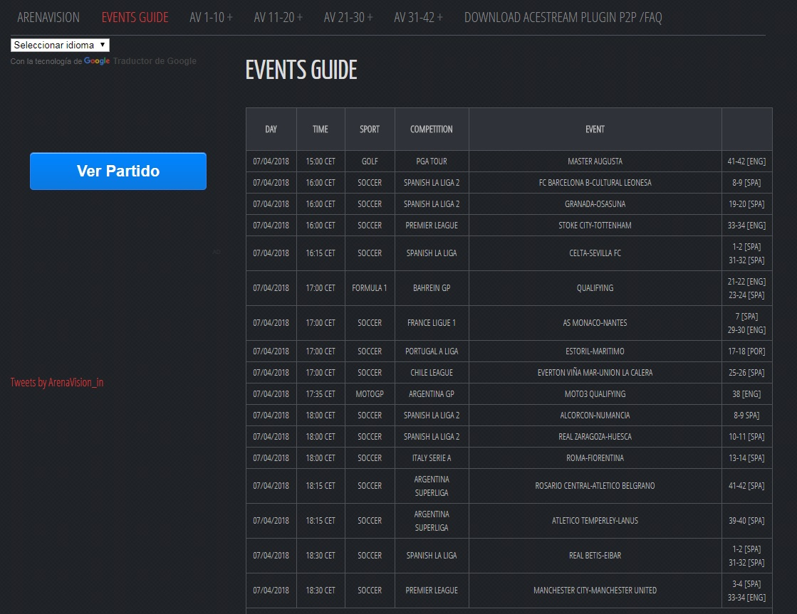 Image Result For Arenavision Events Guide