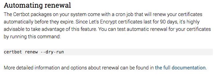CertBot Auto Renewal screen shot