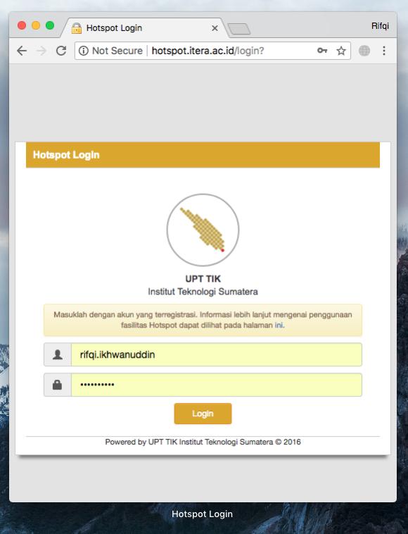 Mengakses laman login hotspot dengan username dan password melalui http://hotspot.itera.ac.id/login