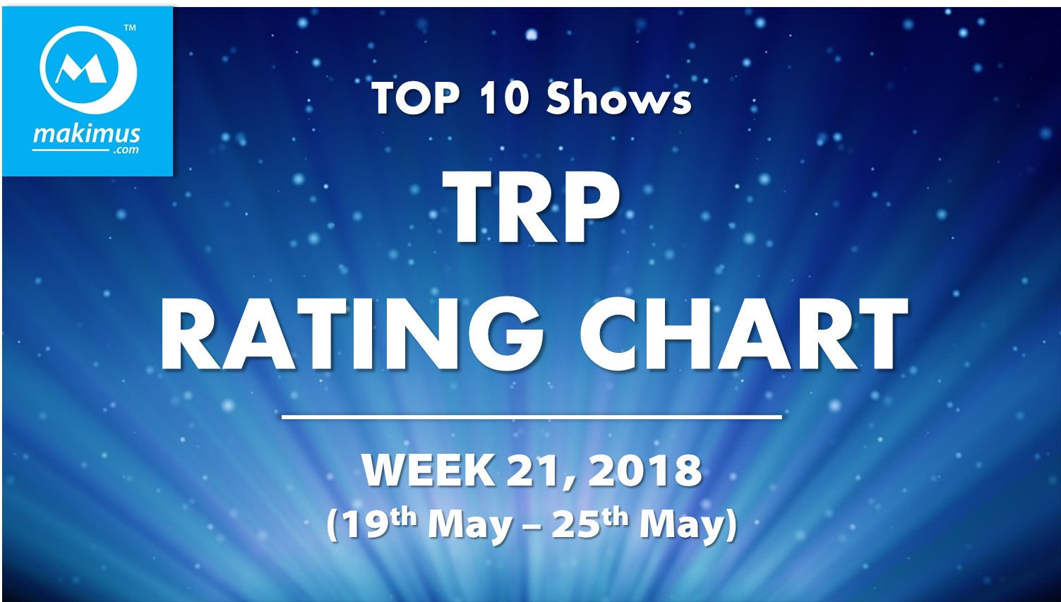Latest TRP BARC Ratings of Week 21, 2018. These are the latest TRPChart of top Indian TV serials
