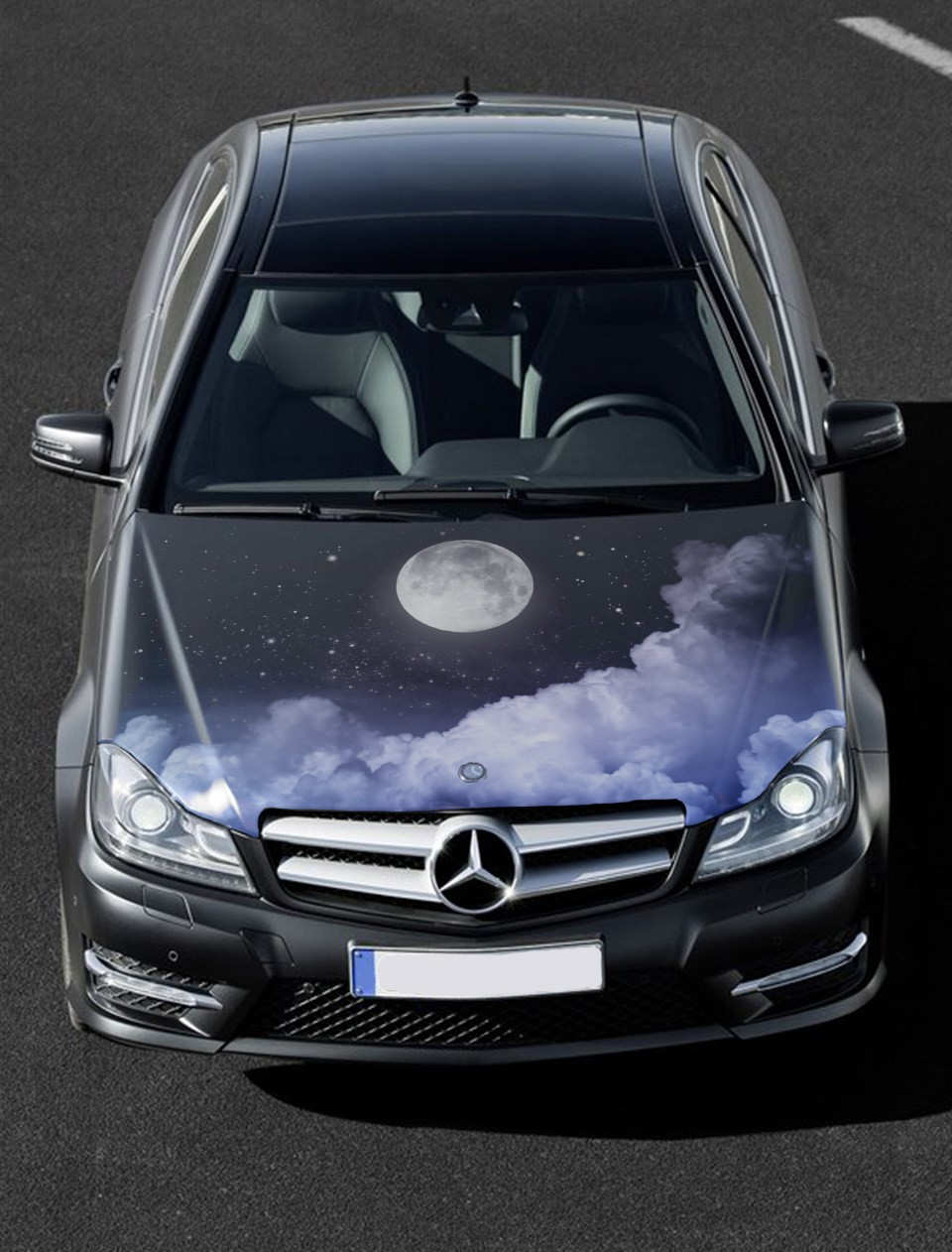 Details about vinyl car hood wrap full color graphics decal moonlight clouds custom sticker