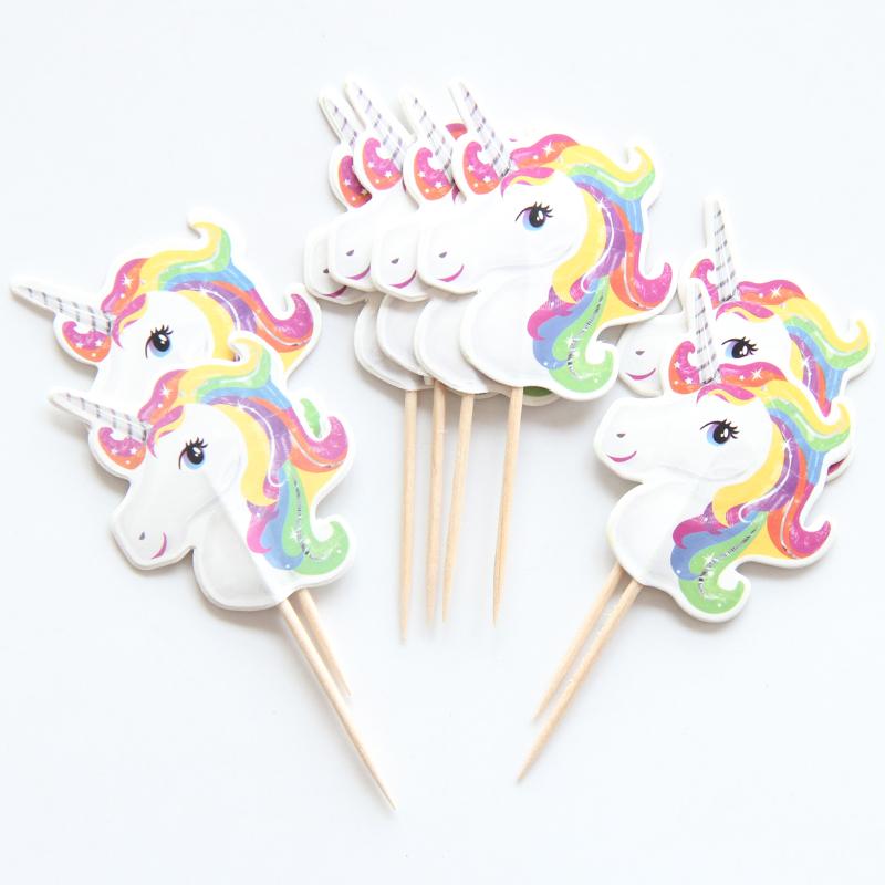 12 x Unicorn Cake Picks Cupcake Toppers Flags Happy ...