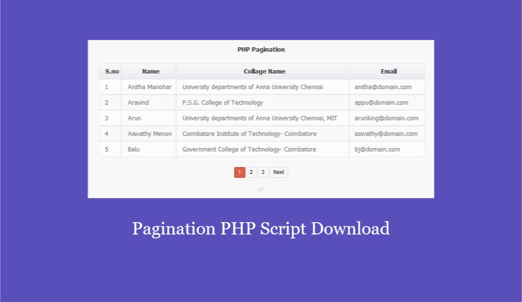 Mysql Pagination PHP Script Download