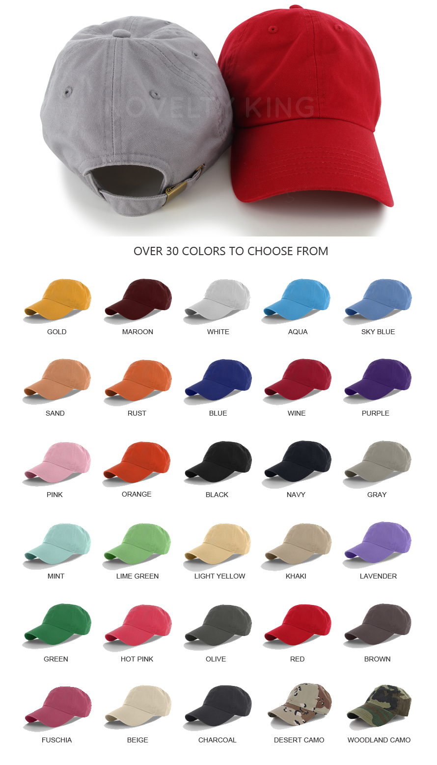 005f50c29ec Cotton Cap Baseball Caps Hat Adjustable Polo Style Washed Plain ...
