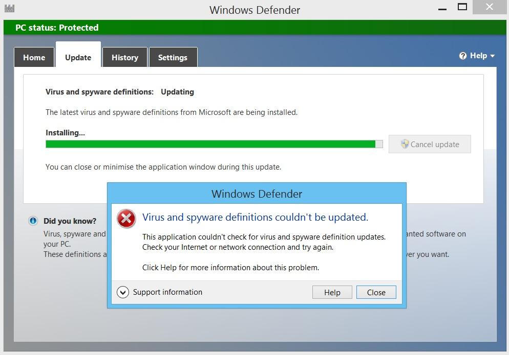 Windows defender update issue for Window defender update
