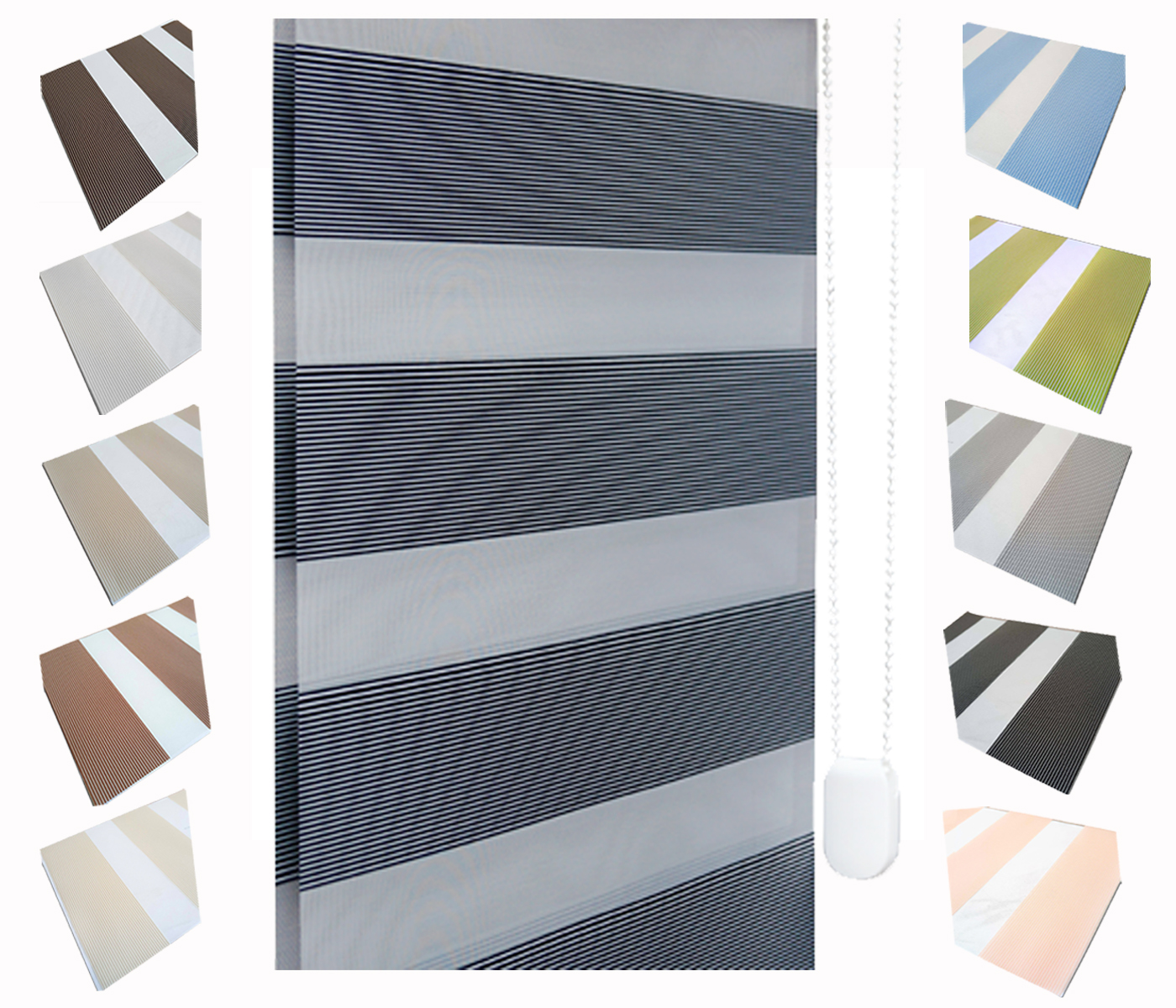 Vision PREMIUM Grey Day /& Night Zebra Blinds UK PRODUCT Made to measure