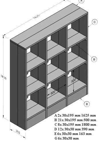 zelf een kast maken met bouwtekening kast vakkenkast steigerhout