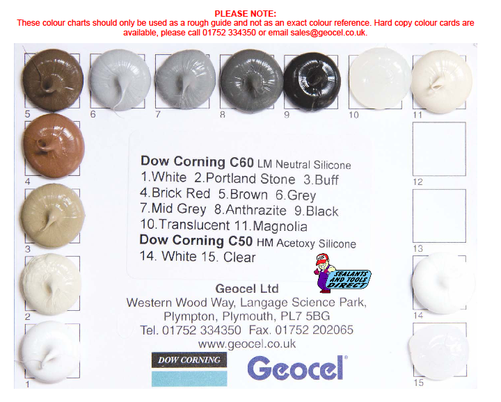 C60 Dow Corning Colour Chart