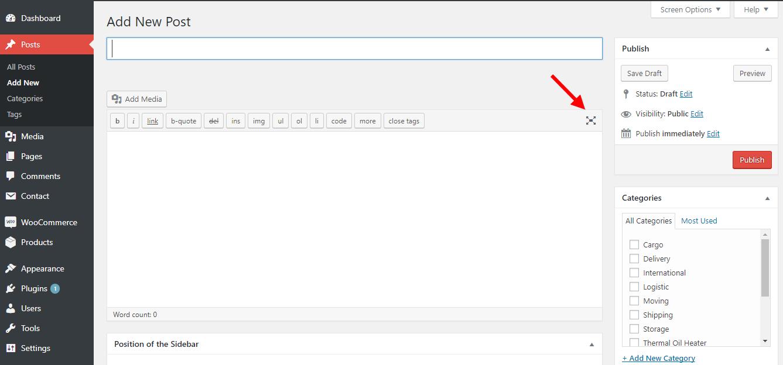 Mode Visual saat add post dan Page tidak ada