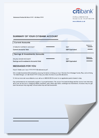 citi bank uk bank statement cdr template