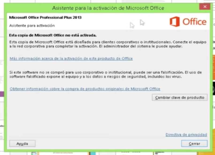 Copia no activada de Microsoft Office 2013.