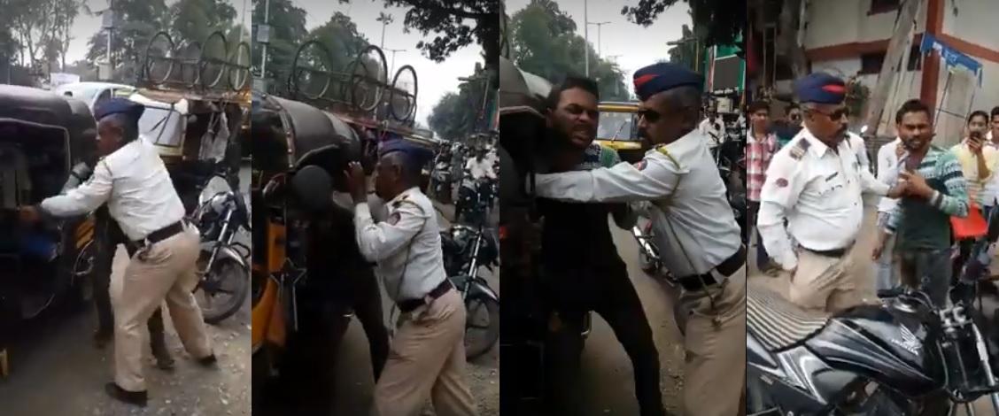 महाराष्ट्र में  ट्रैफिक पुलिस ने काम से लौट रहे गरीब मजदुर को पकड़ा और उसके साथ ज्यादती की