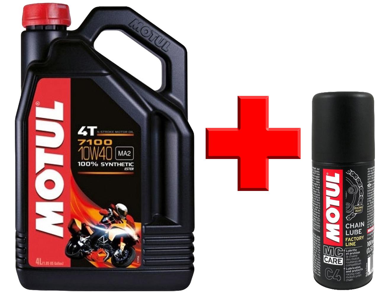 Motul 7100 4T 10W-40 (SN/MA2) 4л + C1 Chain clean 100мл
