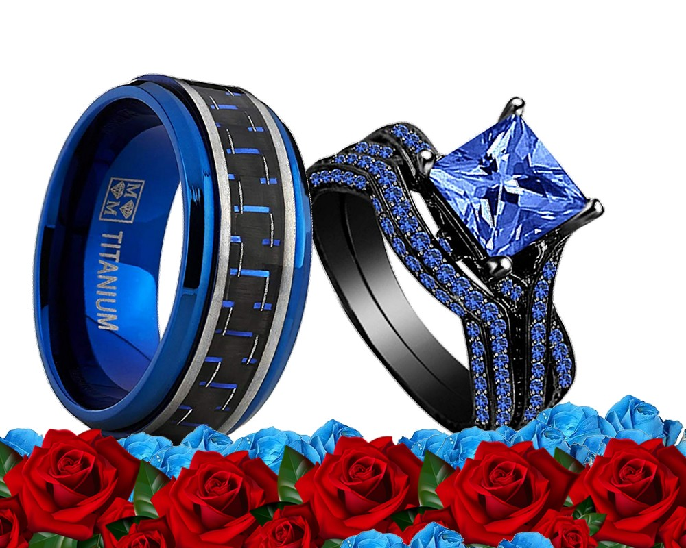 His Titanium Blue And Her Blue Cz Black Gold Bridal Engagement