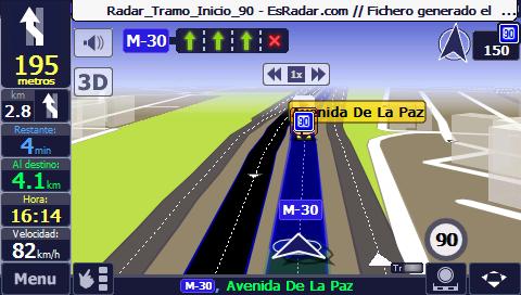 Radares para AutoMapa con indicacion de velocidad en los Tramos Controlados