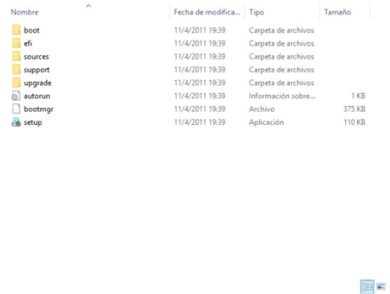 Instalar Windows sin USB ni CDs - Contenido de ISO