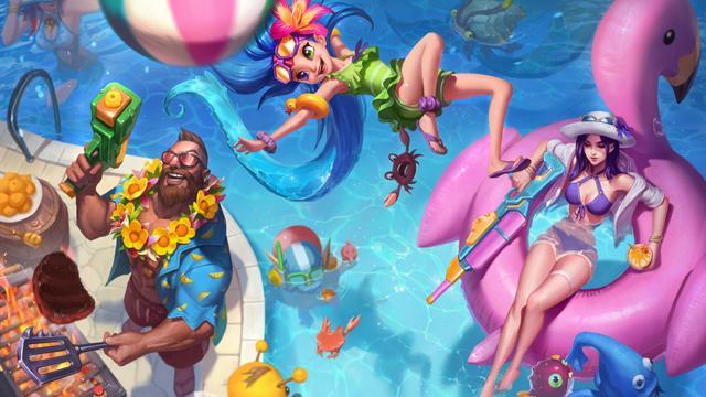 Gangplank, Zoe y Caitlyn fiesta en la piscina