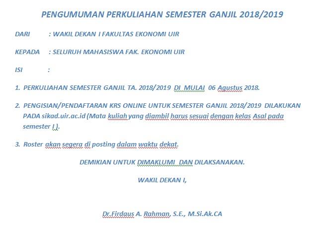 pengumuman perkuliahan semester ganjil 2018 2019