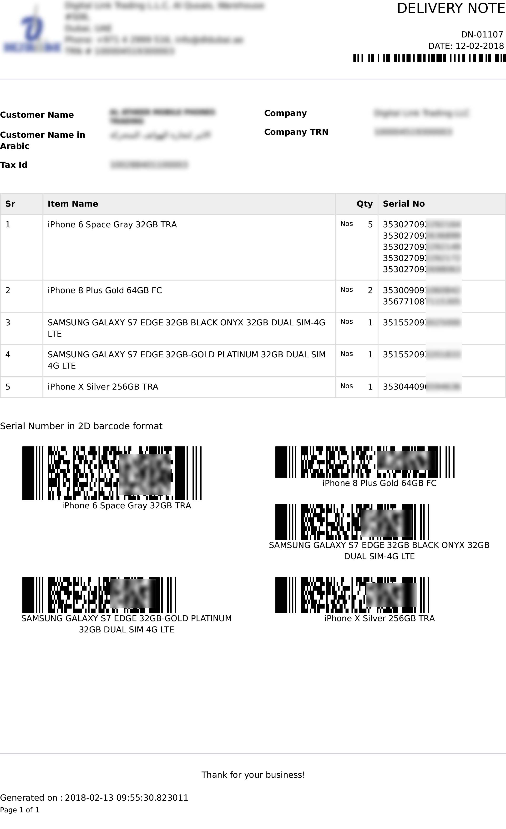 serial number barcode