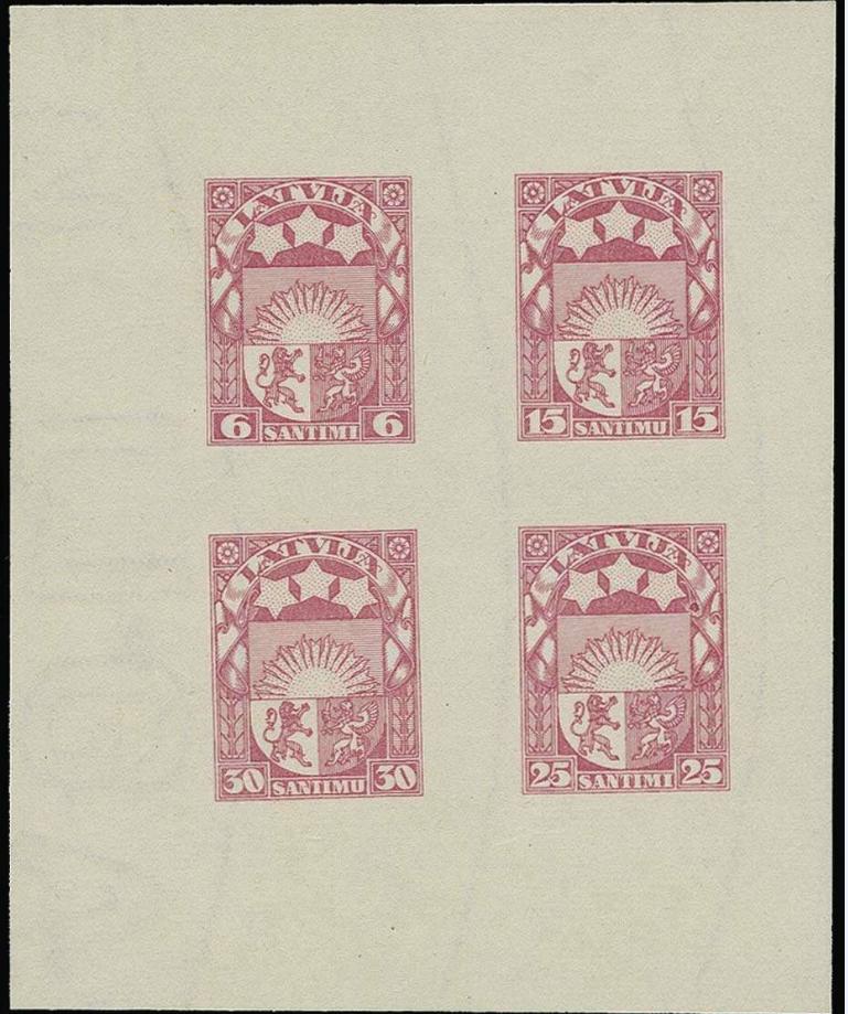 Izmēģinājuma iespiedums violeti-rozā krāsā. Pārdots izsolē par 3 000 €.
