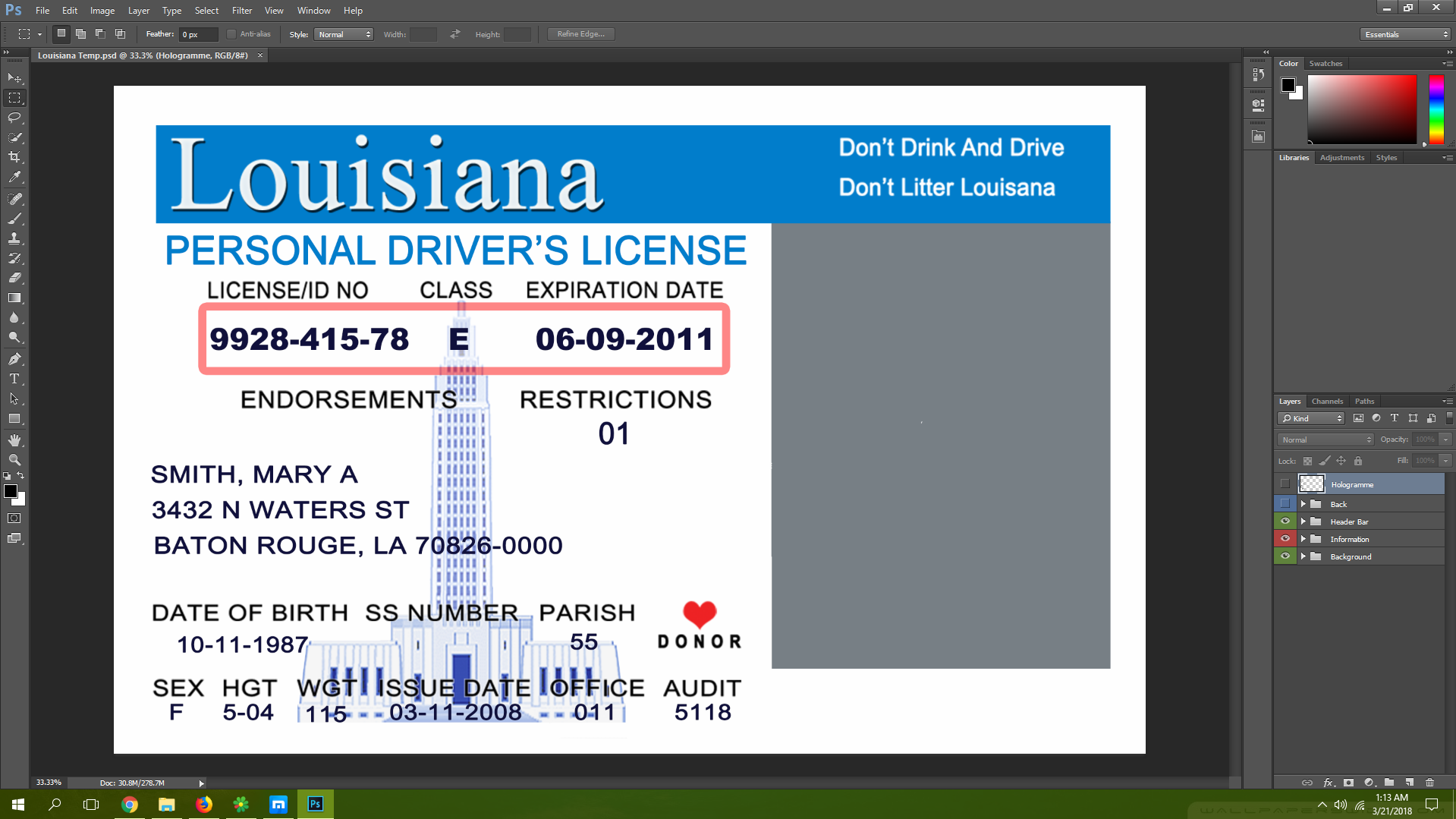 Louisiana driving licence psd template